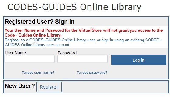 Figure 1: CODES-GUIDES Online Library log-in screen