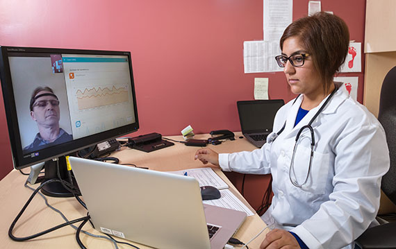 Doctor providing interactive remote care