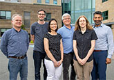 The Human Health Therapeutics biomarker quantification team in Halifax. L-R: Kenneth Chisholm, Andrew Leslie, Eve Teh, Jeff Gallant, Sue Penny, and Dev Pinto.