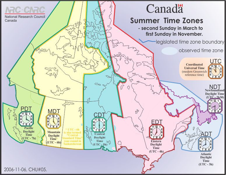 Canadian summer time zones